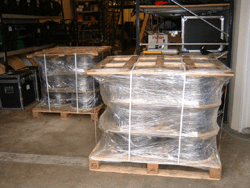 Fibre reels palletised ready for shipping